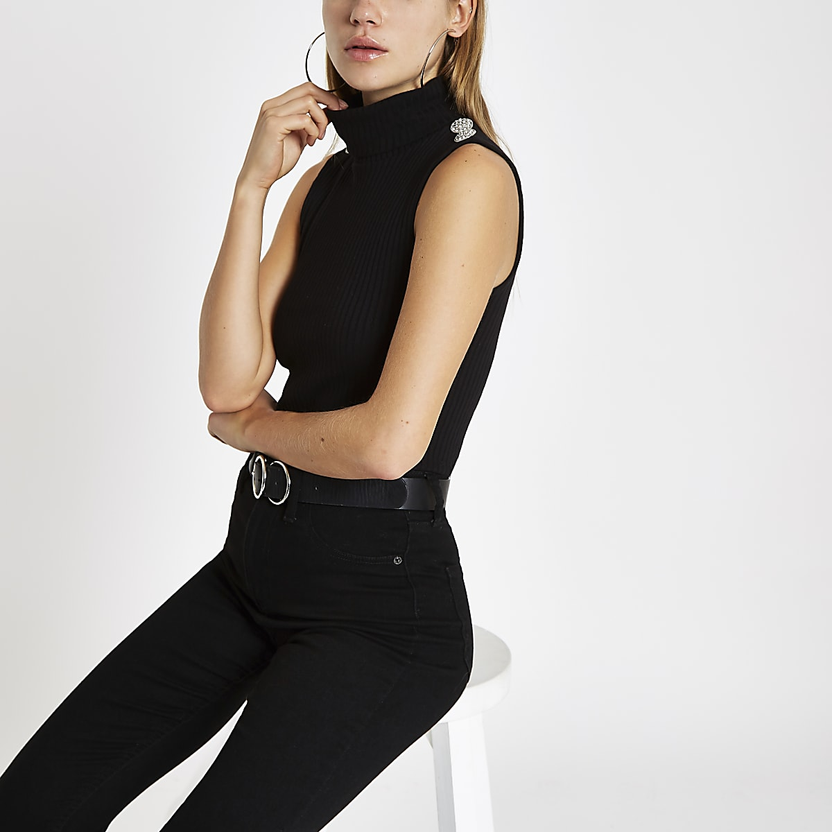 Black rib diamante embellished roll neck top