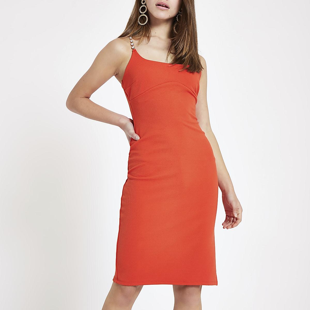 RI Petite - Rode geribbelde midi-jurk met siersteentjes aan de zoom