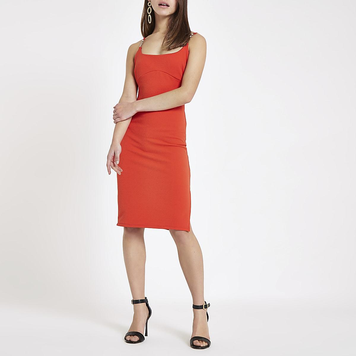 188641eb7261 Petite red ribbed diamante trim midi dress - Bodycon Dresses ...