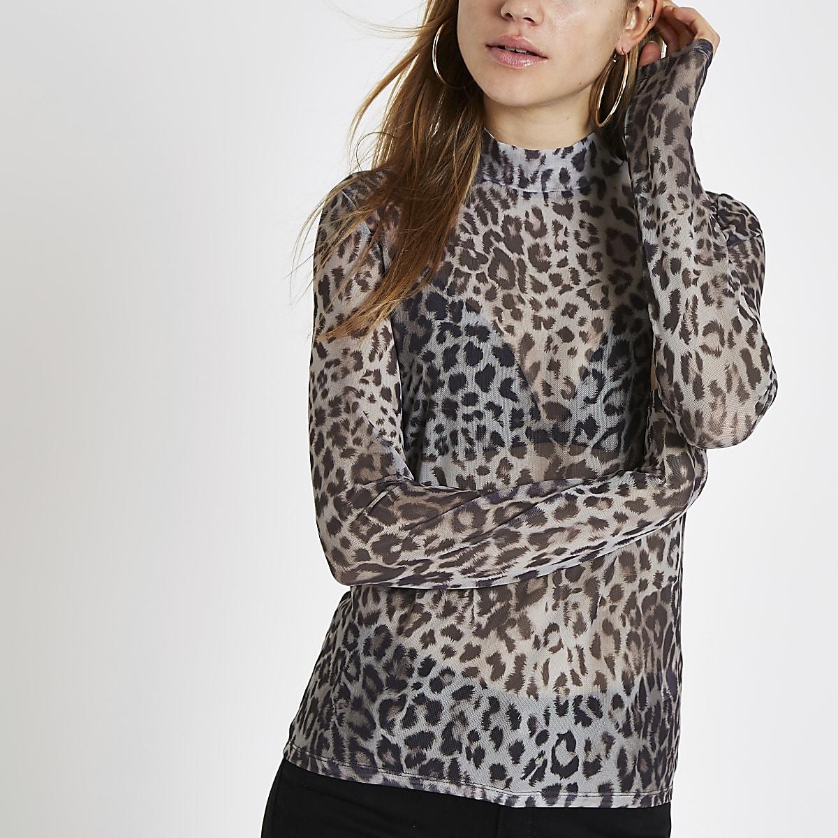 Grey leopard print mesh high neck top