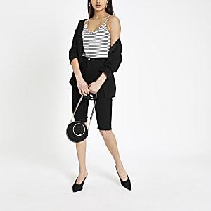 White stripe V neck bodysuit