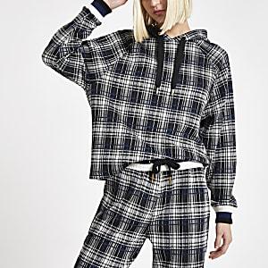 Zwarte geruite hoodie met lange mouwen