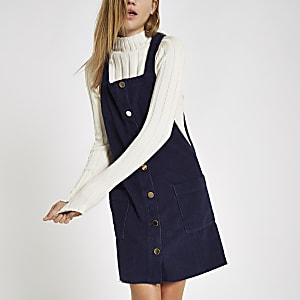 Navy cord dungaree dress