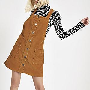 Brown cord overall dress