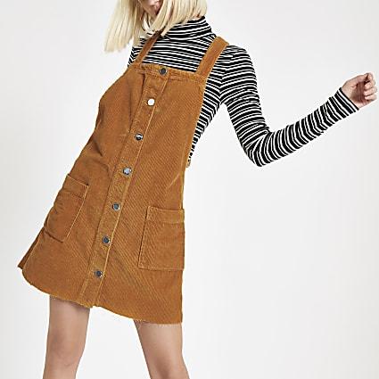 Brown cord dungaree dress