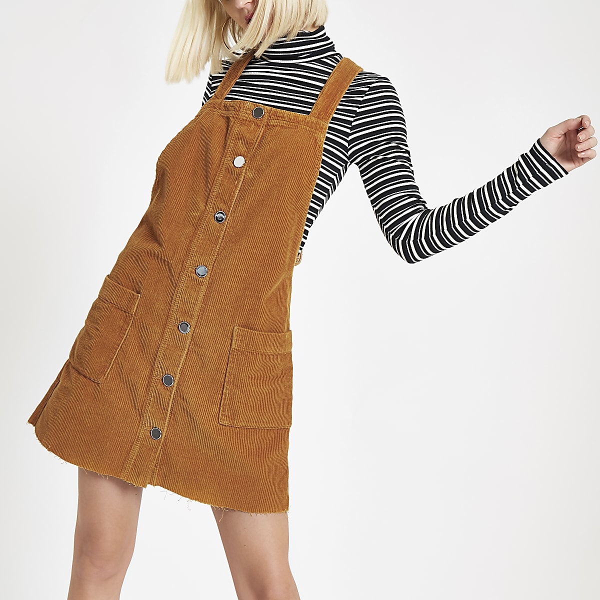 Brown cord overall dress