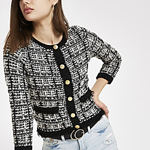 Black and cream knit button-up cardigan