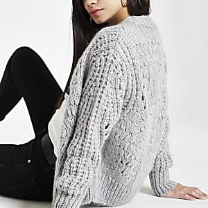 Light grey knitted cardigan