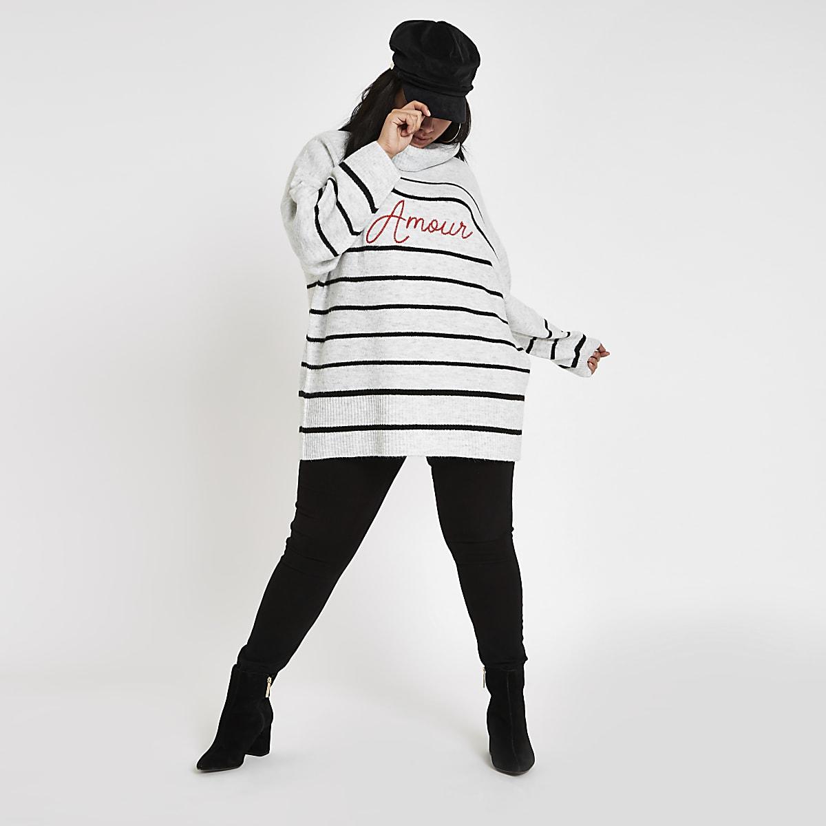 Plus grey 'Amour' stripe knit jumper