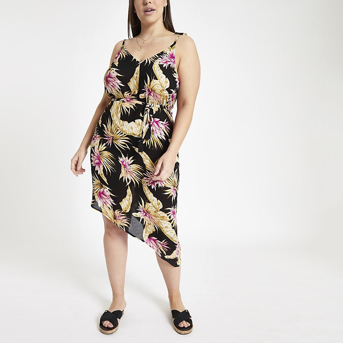 Plus black floral print beach dress