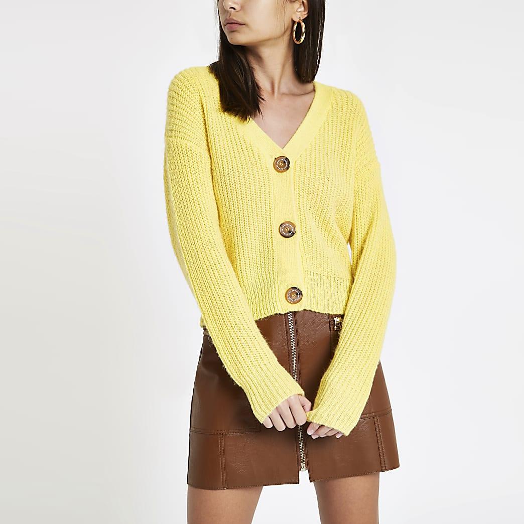 Yellow V neck diamante button cardigan