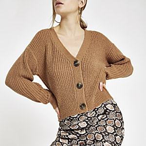 Beige V neck button cardigan