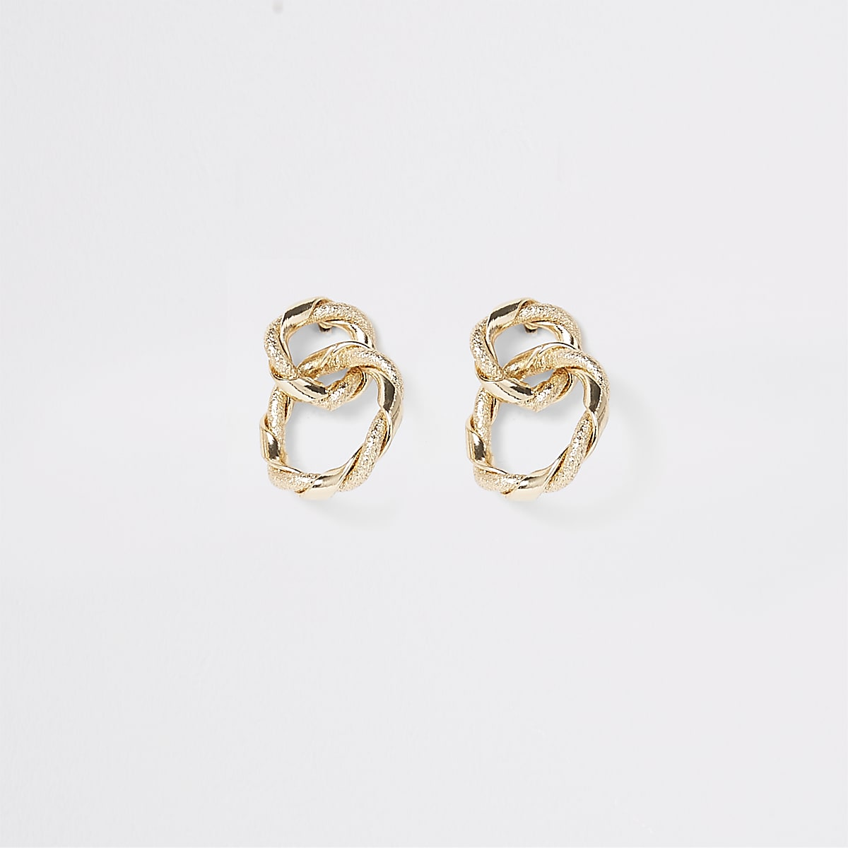 Gold color twisted interlinked stud earrings