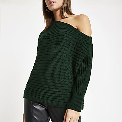 Dark green asymmetric knit jumper
