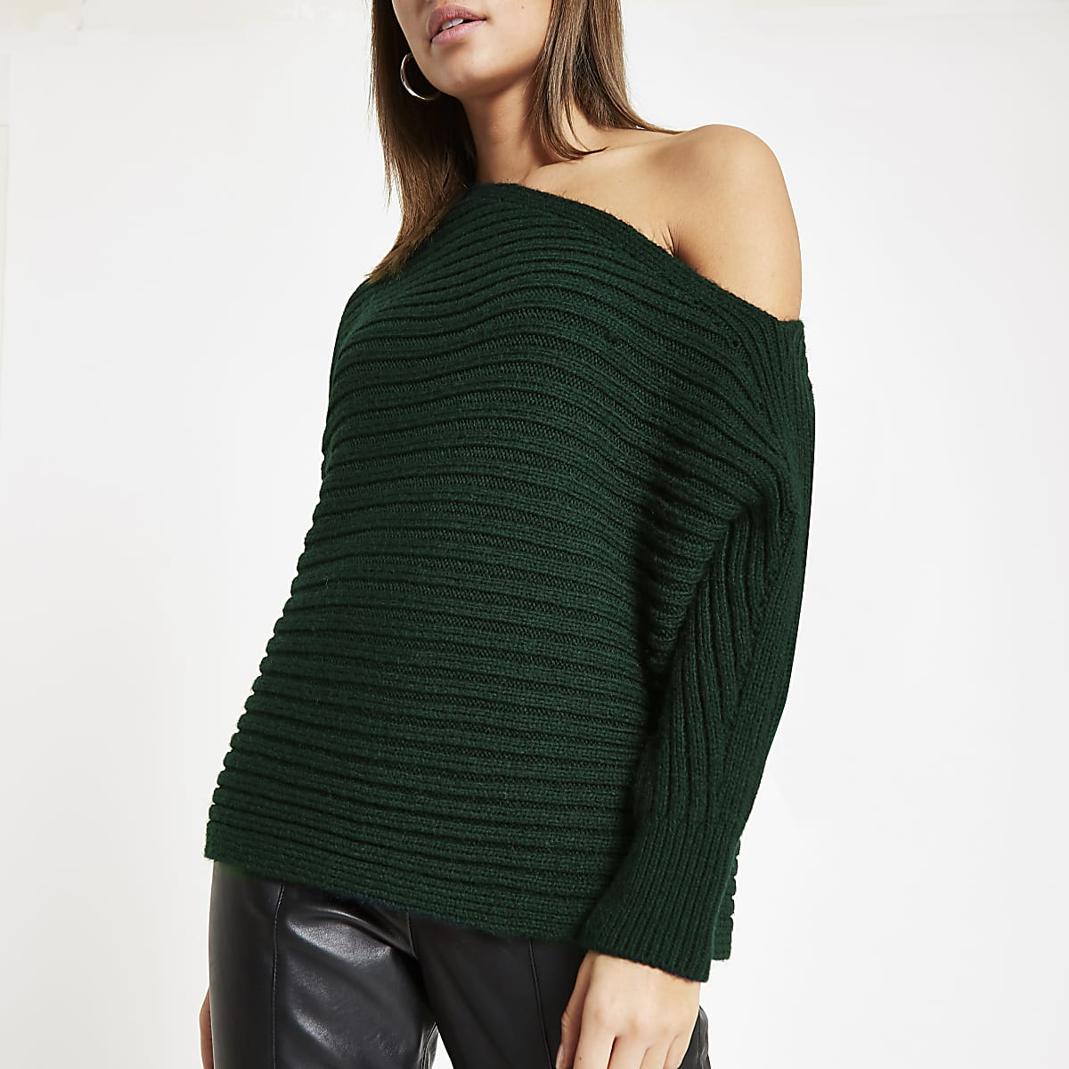 Dark green asymmetric knit sweater