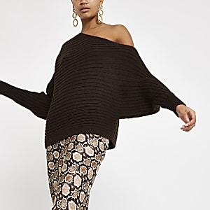Chocolate asymmetric knit sweater