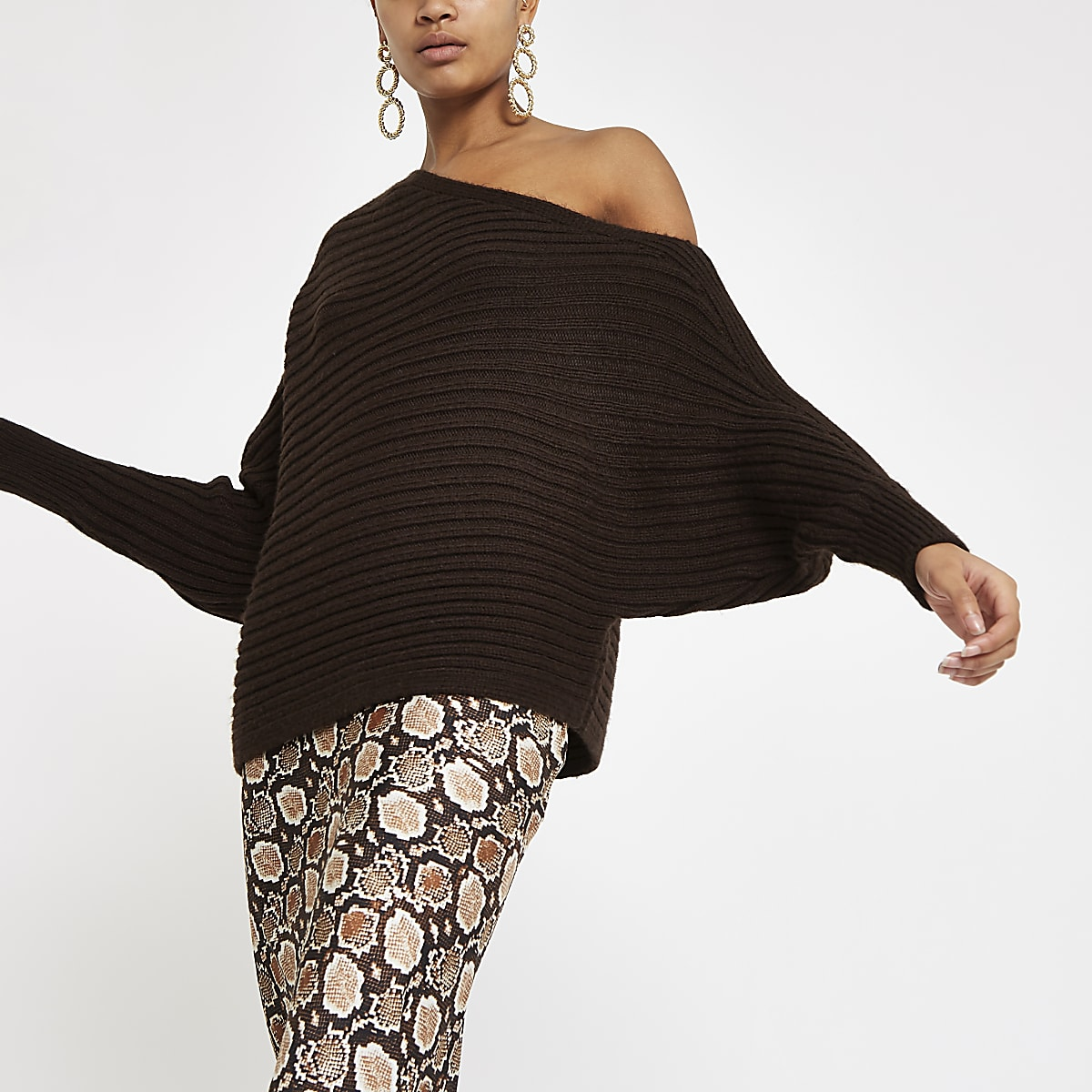 Chocolate asymmetric knit jumper