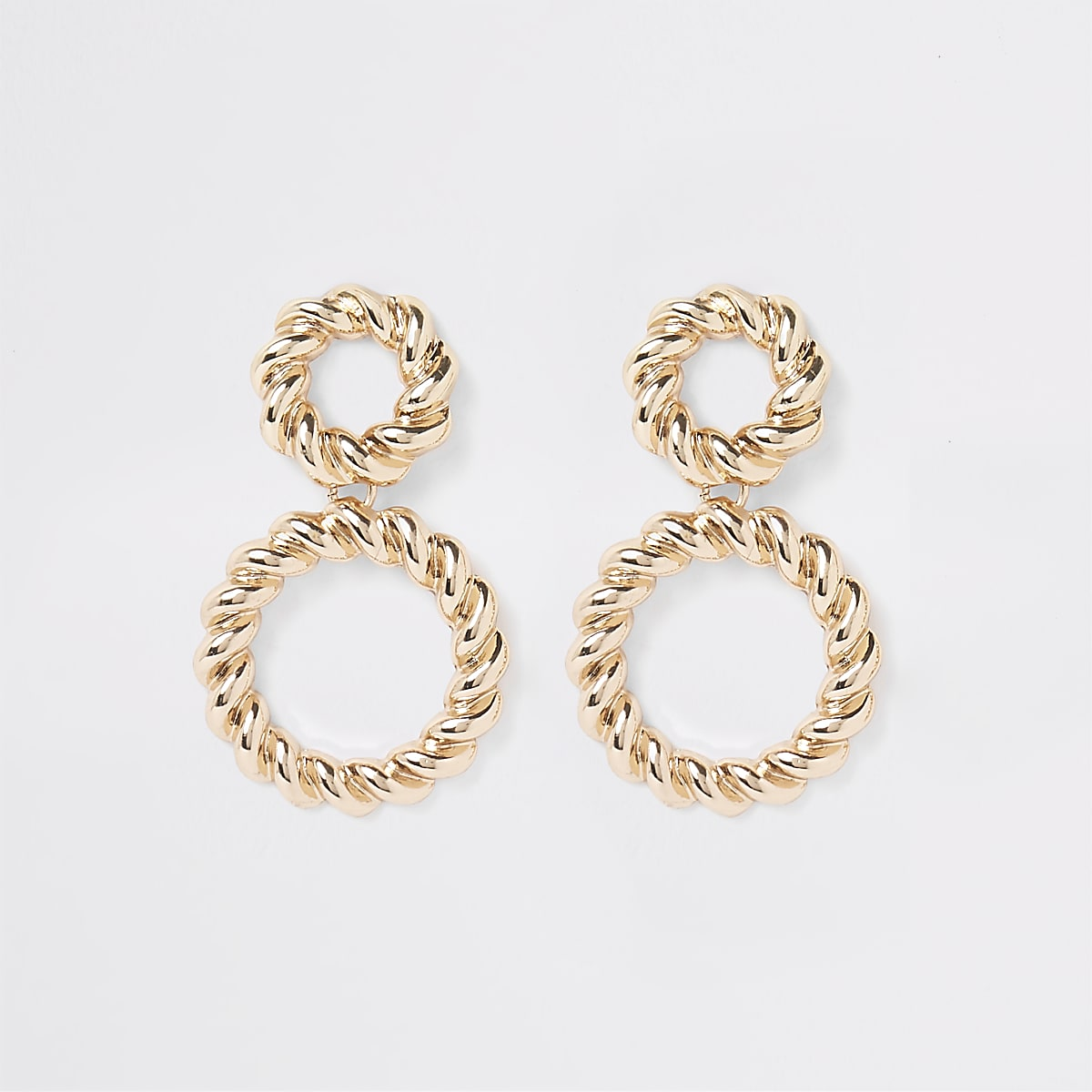 Gold colour twisted ring drop earrings