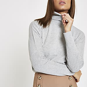 Grey roll neck batwing sleeve sweater