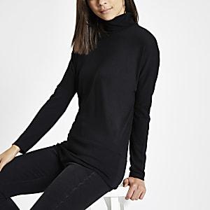 Black roll neck batwing sleeve jumper