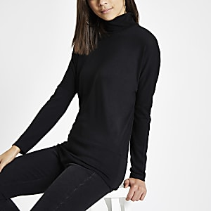 Black roll neck batwing sleeve sweater
