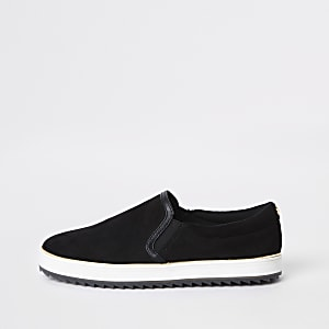Black faux suede slip on sneakers