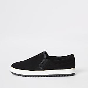 Zwarte slip-on sneakers van imitatiesuède
