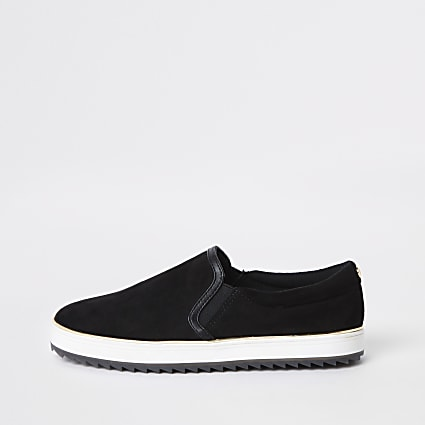 Black faux suede slip on trainers