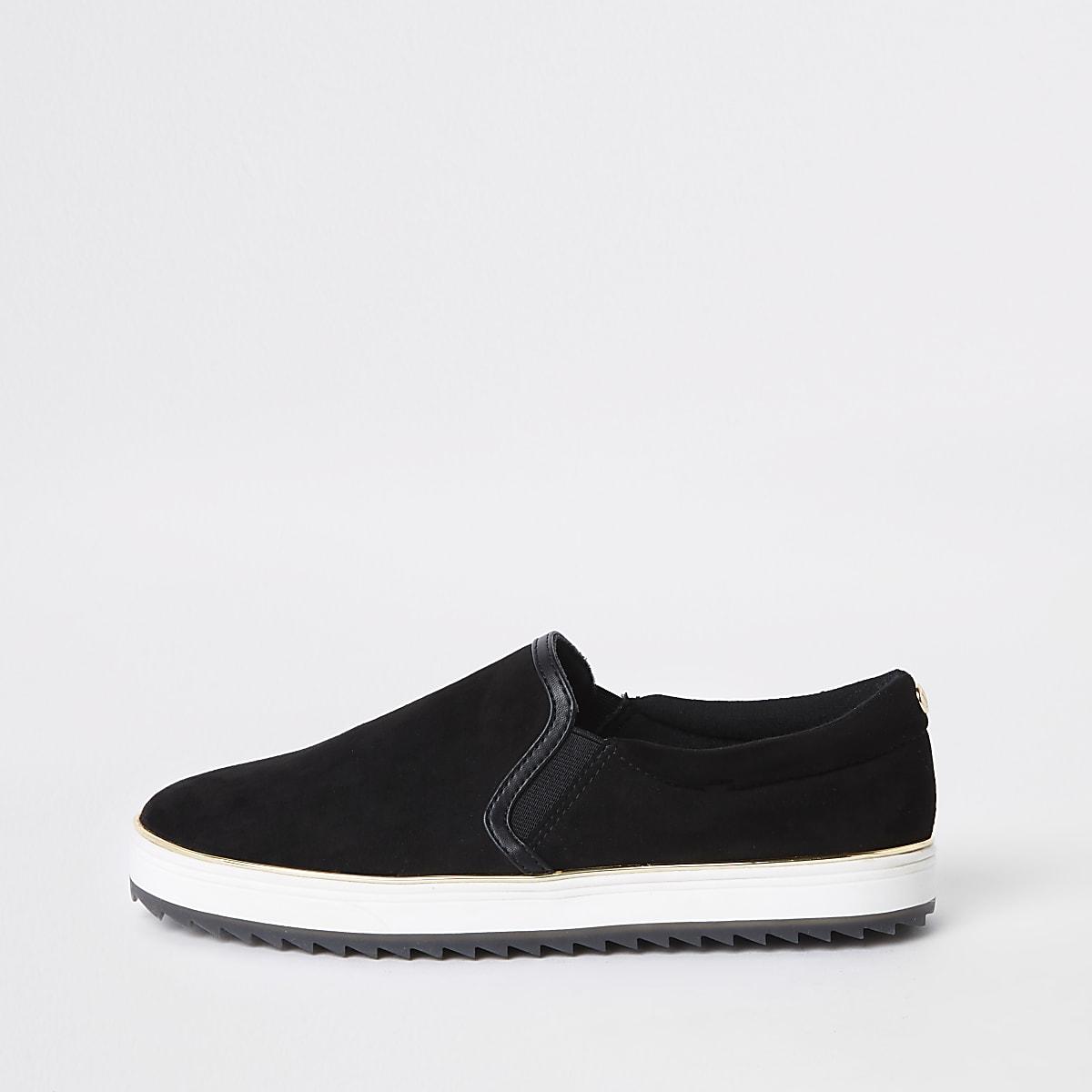 Black faux suede slip on sneakers