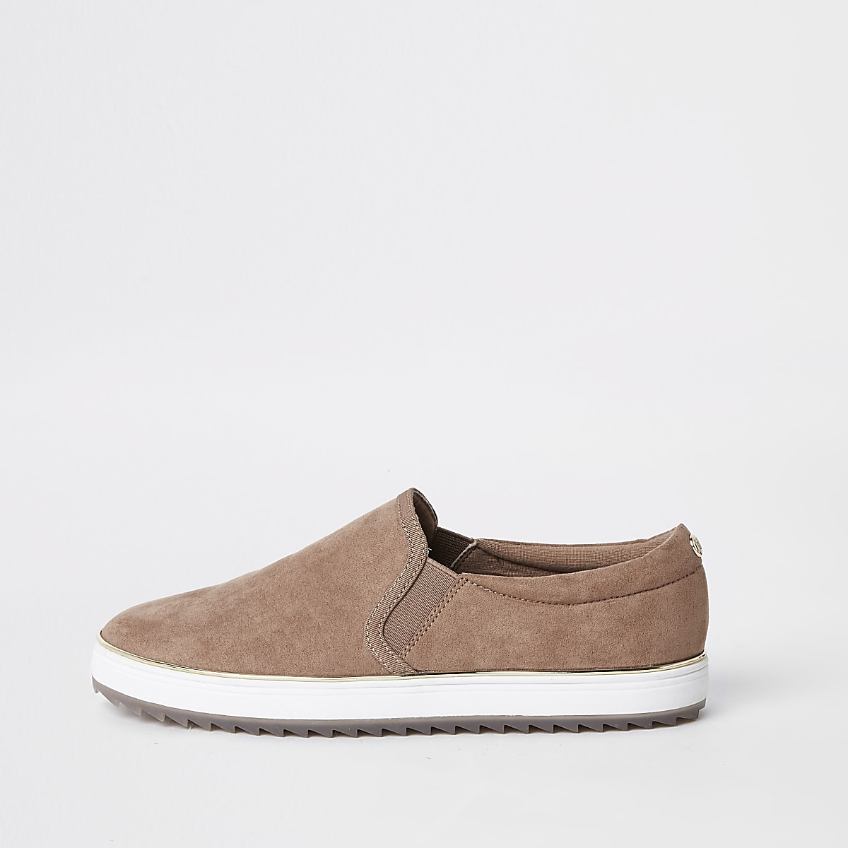 Pink faux suede slip on trainers