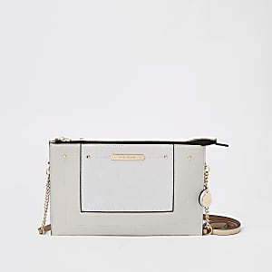 Light grey cross body pouch bag