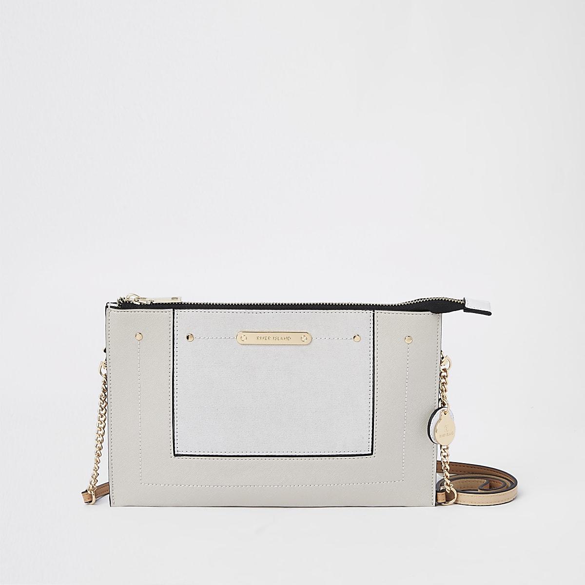 Light grey cross body pouch bag