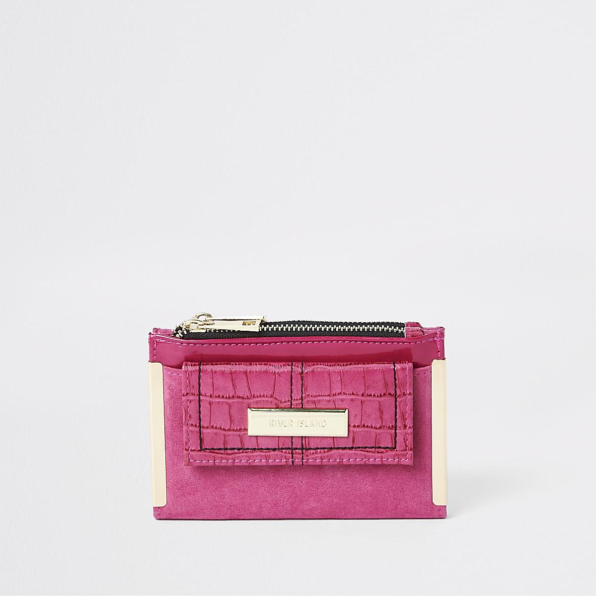 Dark pink front pocket mini foldout purse