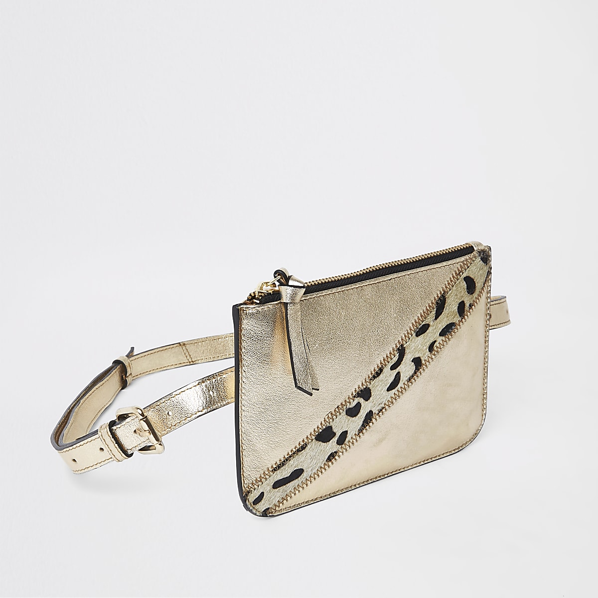 Gold metallic leather pouch belt bag