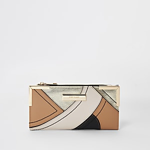 Beige metallic cutabout foldout purse