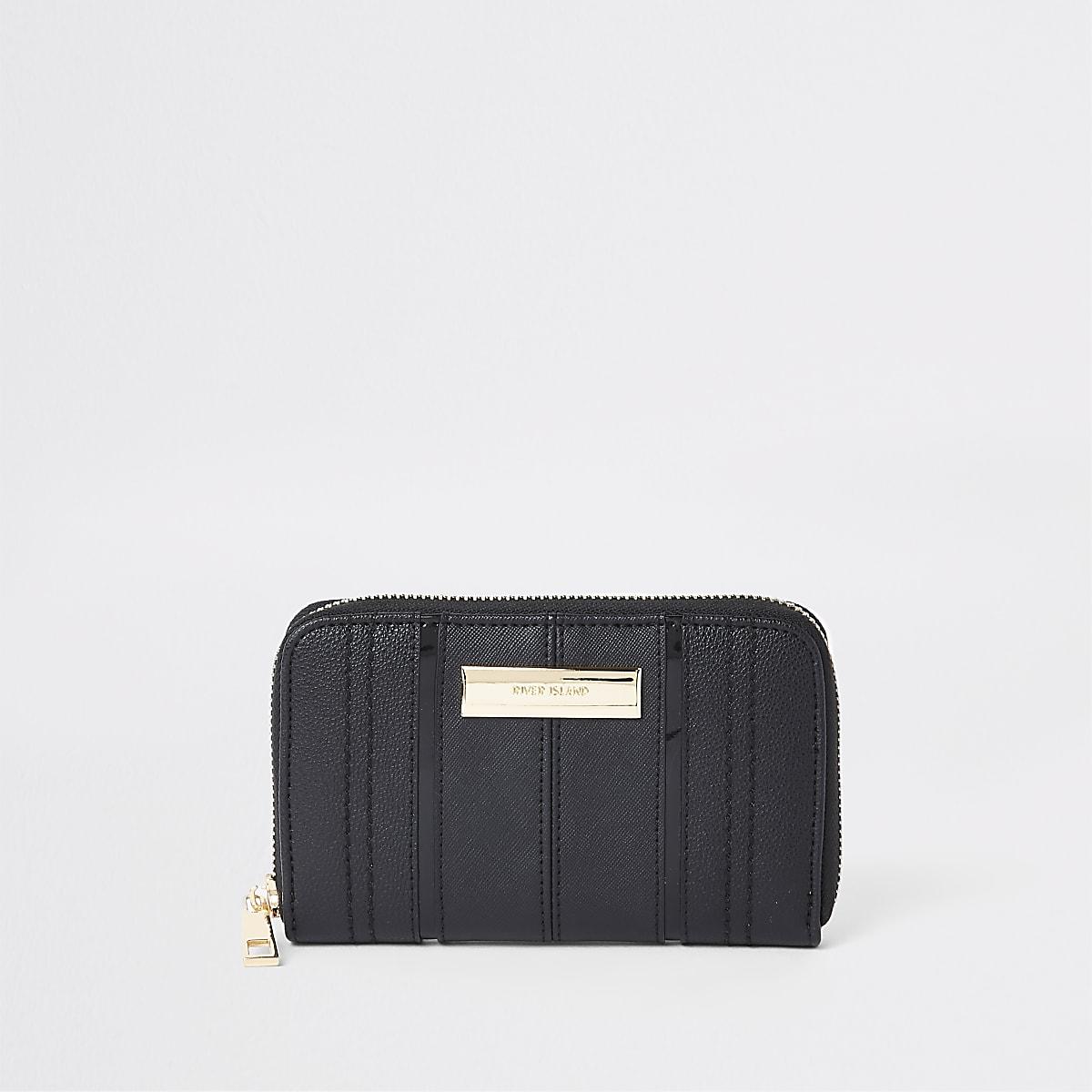 Black panel zip around mini purse