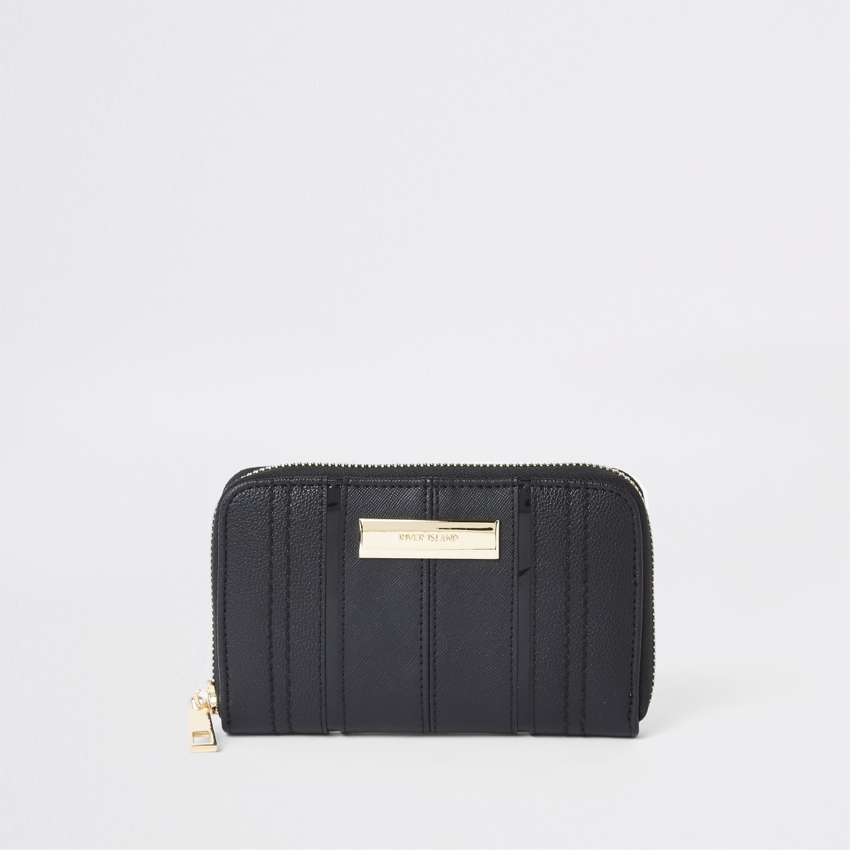Black panel zip around mini purse