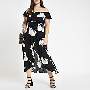 Plus – Robe longue Bardot à fleurs noire
