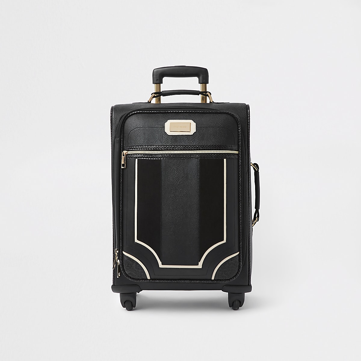 Black mixed panel suitcase