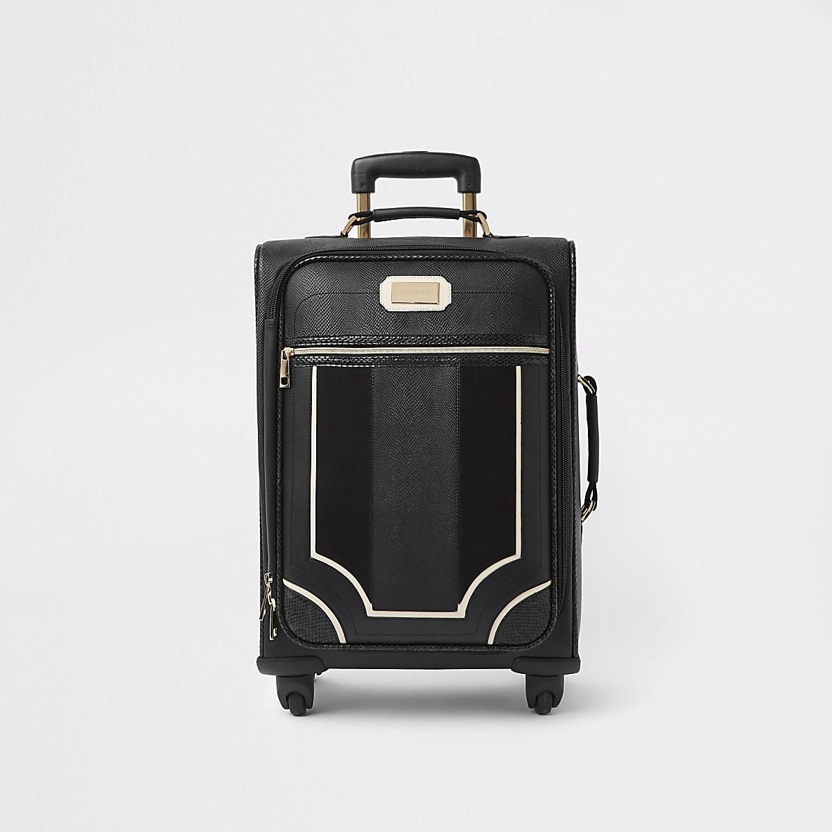 Black mixed panel suitcase