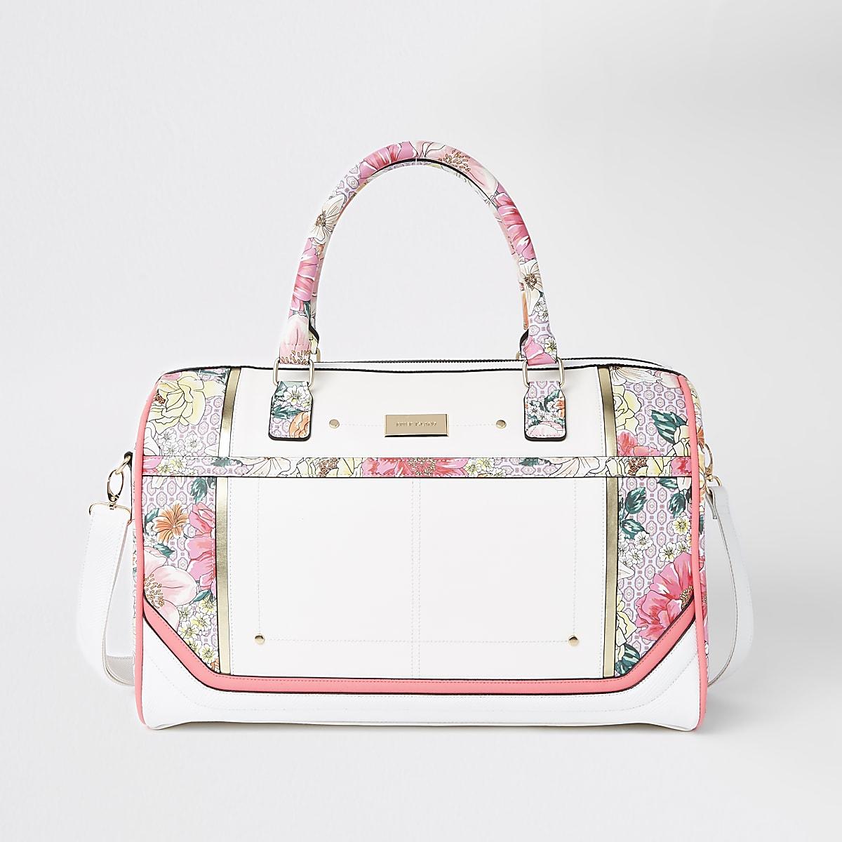 Light pink floral weekend bag