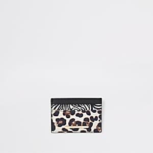 Porte-cartes de voyage imprimé animal noir