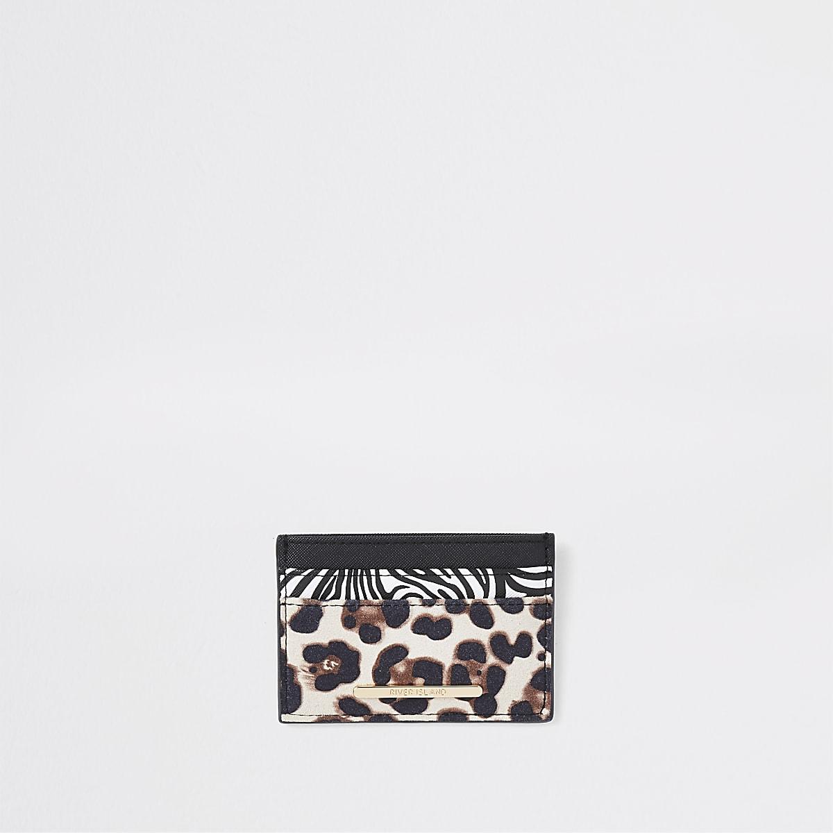 Black animal print travel card holder