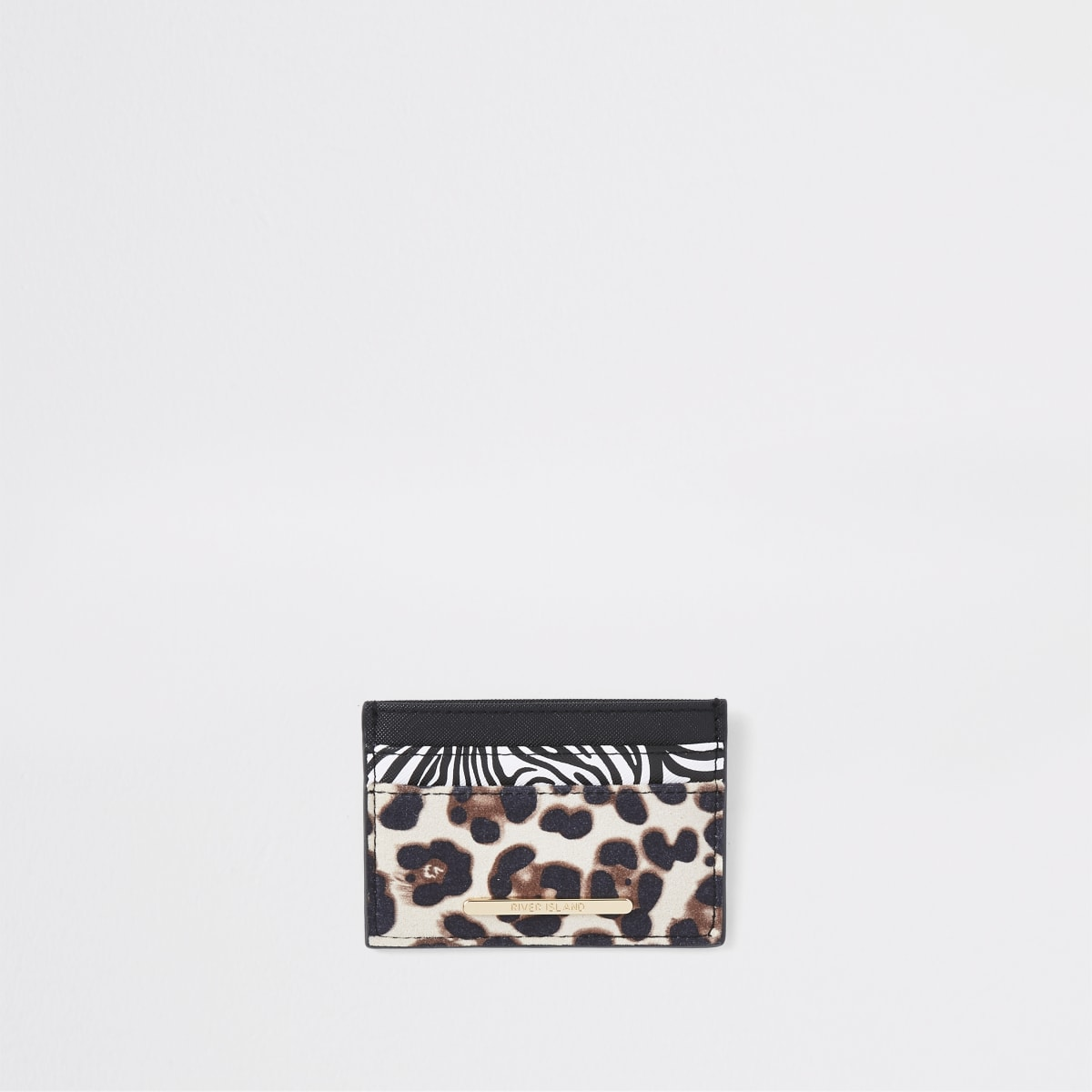 Black animal print travel card holder