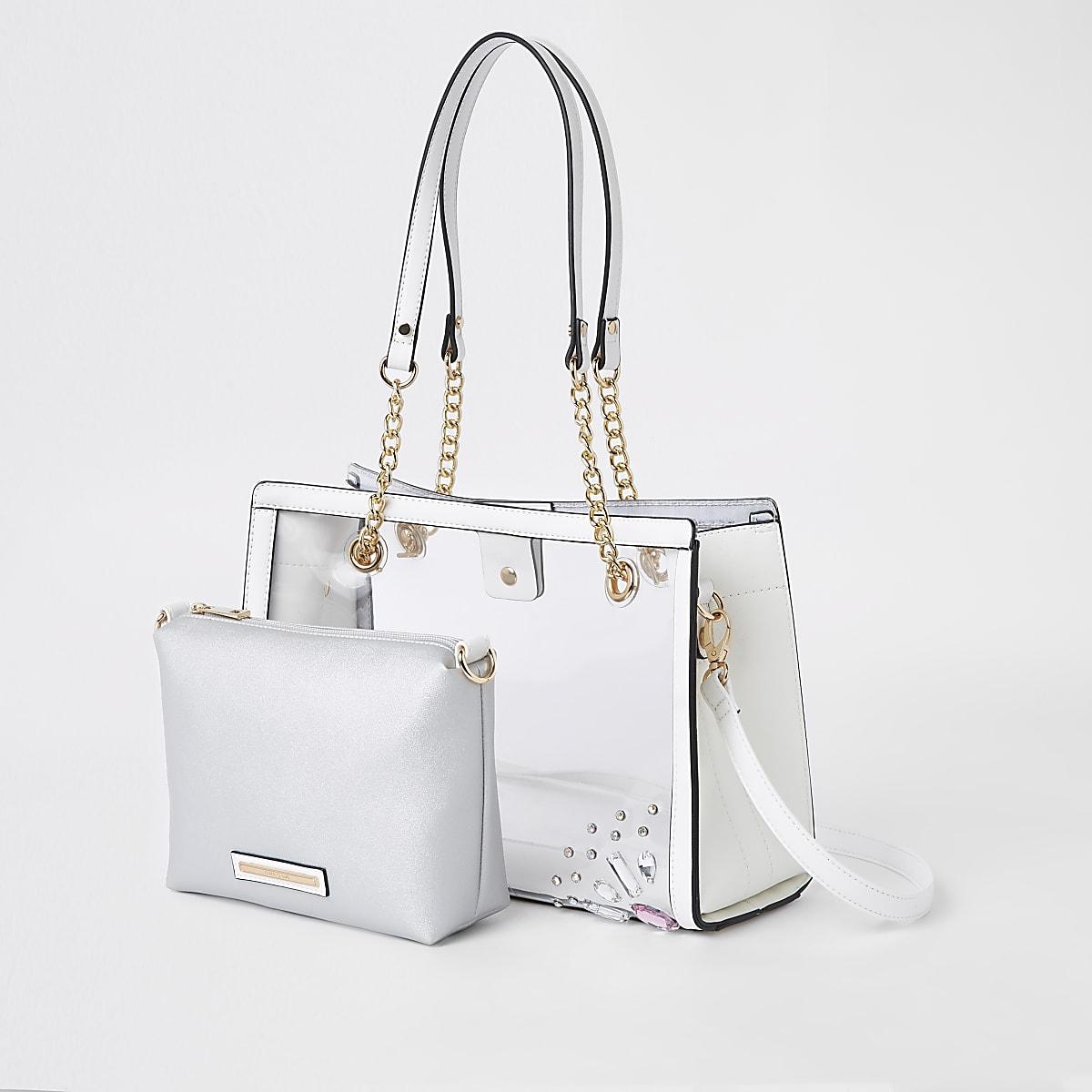Witte perspex handtas met binnenvak