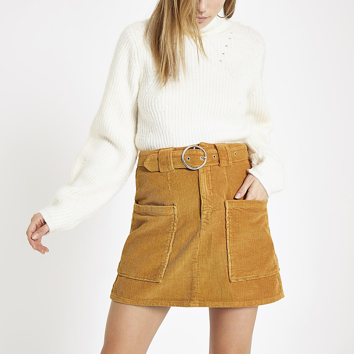 Mustard cord belted mini skirt