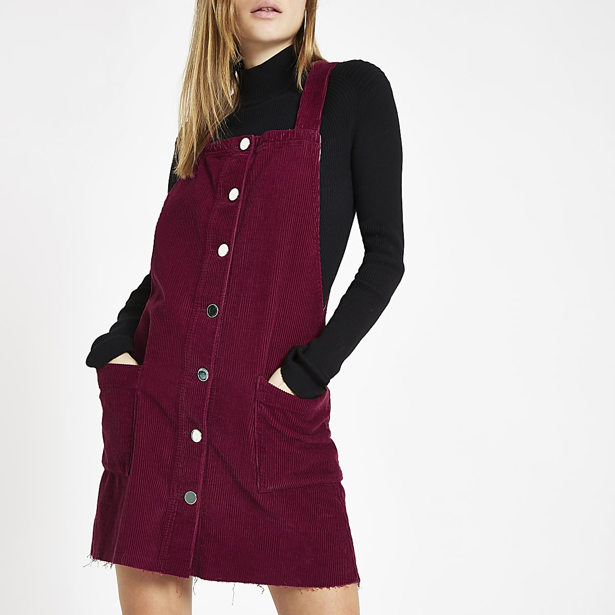 Dark red cord overall dress