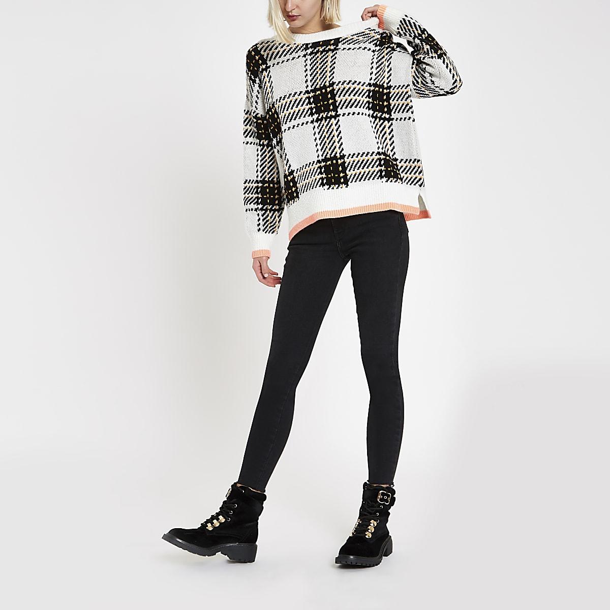 Cream check crew neck sweater
