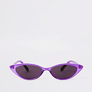 Lunettes de soleil papillon violettes à fine monture