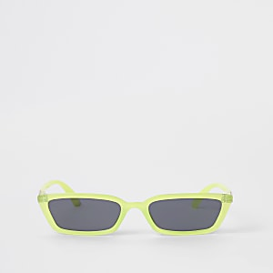 Neongroene zonnebril met smal montuur